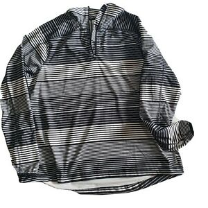 Lands Ends 1x Black White Striped Active Pullover Workout Top Pocket Thumb holes
