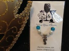 Wine Glass Charm - Single / Beaded - Seahorse (Blue / White)