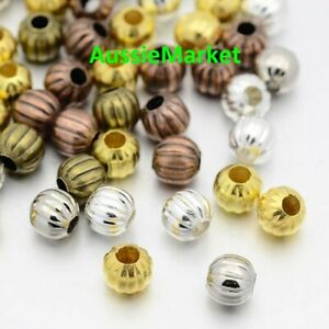 100 x metal spacer beads corrugated metallic small size 4mm mixed colours colors