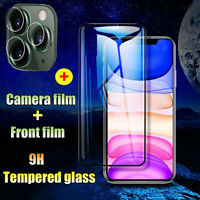 9D Tempered Glass Film For iPhone 11 Pro Max Front+Camera Lens  Protective Film