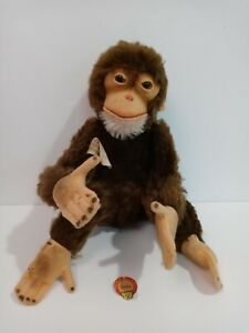 Vintage STEIFF JOCKO Chimp Monkey with tag jointed looks GREAT! Button 5325-03