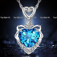 Heart Necklace Silver Pendant Chain Blue Topaz Gemstone Fashion Jewellery 925 B2