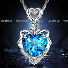 BLACK FRIDAY DEALS Silver Heart & Blue Diamond Necklace Wife Promise Women GF B7