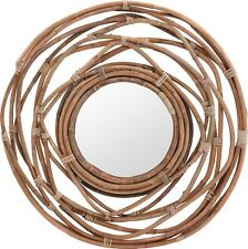 Very Large 90cm Natural Wicker Mirror Modern Round Wall Hanging Mirror Kubu
