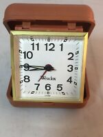 Vintage Collectible Westclox Brown Plastic Clam Case Wind Up Travel Alarm Clock