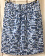 Boden Blue Fine Linen Skirt Lined Size 4R Lightweight Short Knee Length Pencil