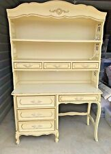 VintagGirls Henry Link White Bedroom Bookshelf and Desk Combination Trimmed Gold