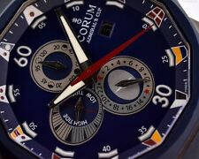 Corum Admirals Cup Tides 48 Titanium Blue Dial Mens Watch Box/Papers