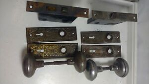 2 ANTIQUE CAST IRON DOOR LOCK SETS