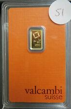 Valcambi Suisse 1 Gram Gold Bar 999.9 Original Assay Sealed Card