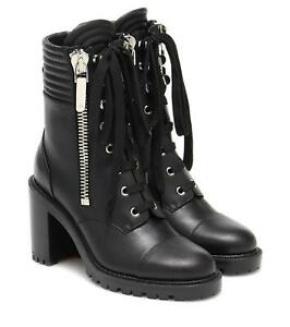 Christian Louboutin EN HIVER 70 Leather Lace Up Zip Combat Boots Black $1495