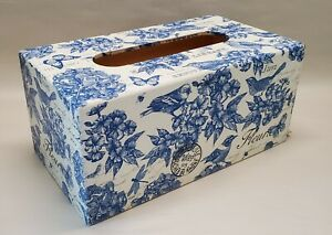 Made To Order, Handmade Decoupage Tissue Box Cover, White & Blue Birds, Floral