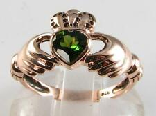 CLADDAGH 9CT ROSE GOLD GREEN TOURMALINE  HEART RING