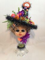 HALLOWEEN WITCH* Antique comp. Doll Head*Glass Eyes*VTG Jewelry*Hand Painted