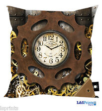 "STEAM PUNK DESIGN CUSHION 18"" X 18"" GREAT GIFT IDEA L&S PRINTS CLOCK COGS"