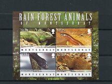 Montserrat 2009 MNH Rain Forest Animals 4v M/S Lizards Galliwasp Agouti Snakes