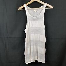 Eileen Fisher Womens Shirt Size PM White Knit Linen Tank Sheer Beach Cover Up