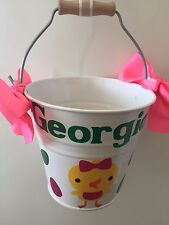 Personalised Easter Bucket Metal Tin Bucket Handmade Basket Any Colour Add Name