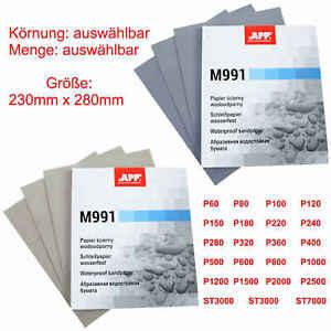 10x Schleifpapier Auswahl P60-7000 Nassschleifpapier wasserfest 230 x 280mm M991