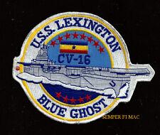 USS LEXINGTON CV-16 PATCH BLUE GHOST CVA CVS LADY LEX PIN UP NAS US NAVY VETERAN