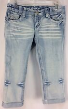 Amethyst Jeans 7 Cropped Distressed Cuffed Hems Light Wash Metallic Stitching