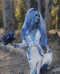 Halloween Corpse Bride wedding dress veil /& headdress matching choker necklace made with distressed long net  skirt UK size8 and USA size4