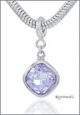 Sterling Silver Rhombus Pendant Charm Lavender CZ Fit European Bracelet #94029