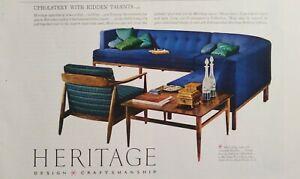 Vintage 1958 Heritage Furniture Set 1950 Mid-Century Design AD Turquoise Walnut