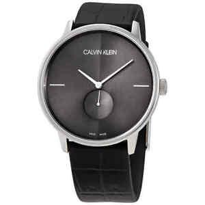 Calvin Klein Accent Quartz Black Dial Black Leather Men's Watch K2Y211C3