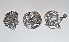 Birds & Blooms Pewter Brooch Pins 1997 Birdhouse 1999 Cardinal 2000 Watering Can
