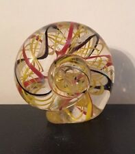 NAUTILUS SHELL Red Black Yellow CRYSTAL Glass PAPERWEIGHT FIGURINE