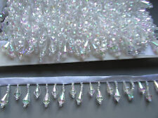 Crystal / Clear Beaded Fringe/Trim TOP QUALITY 45% GLASS Costume/Crafts/Corsetry