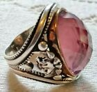 Vtg Sterling Silver Gold Band Amethyst Double Headed Eagles Masonic Ring for sale