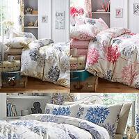 Dandelion Bright & Bold Large Floral Bedding Duvet Cover Set Blue, Natural, Pink