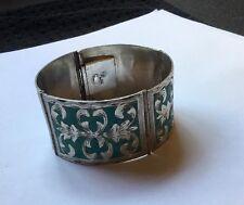 Vtg Sterling Silver Mexican Turquoise Inlay Panel Bracelet Deities Gods Bracelet