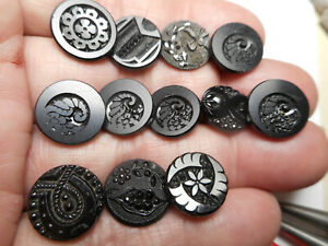 """Cornucopia Flowers Black Glass Lot of 12 Some Matching Antique Buttons 1/2"""""""