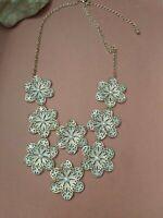 "Goldtone flowers faux pearls bib necklace 21"""
