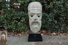 3,1 kg Messing Kopf Büste 38 cm Patinagrün Griechisch Antike Eisen-Holzständer