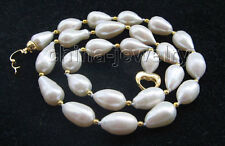 "P5454 - 20"" 14mm natural white baroque rice shape freshwater pearl necklace - GP"