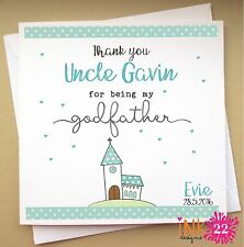 Personalised Christening, Baptism Card 'Church' Thank you Godfather / Godmother