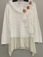 Z ba Womens Embellished Top Tunic Sweater Sheer Lace Handkerchief Hem Size M $98