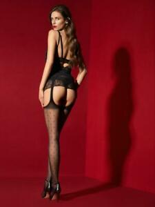 FIORE AMORE MIO SUSPENDER PANTYHOSE DELICATE DOT PATTERN NEW STYLE 3 SIZES BLACK