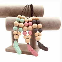 Silicone Feather Beads Teething Necklace Baby Teether Chew Toy Jewellery G
