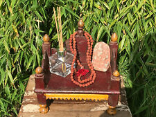 Vintage Small Indian Sacred Hindu Wooden Home Shrine Temple Puja Hand Painted