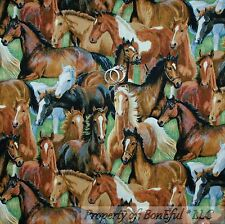 BonEful Fabric FQ Cotton Quilt Equestrian Wild Lg HORSE Face Green Meadow Scenic