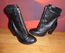 *32*  Superb NEXT black leather victorian style ankle  heel boots UK 4 EU 37