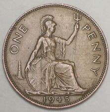 New Listing1945 Uk Great Britain British One 1 Penny George Vi Coin Vf+