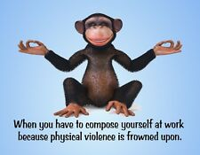 METAL REFRIGERATOR MAGNET Monkey Yoga Compose Stop Violence At Work Office Humor