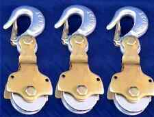 3 Pack 2ton Wire Rope Pulley Block With Swivel Eye Hoist Hook Snatch Block