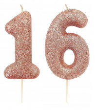 Rose Gold Number Age 16/16th Birthday Glitter Numeral Moulded Pick Candle